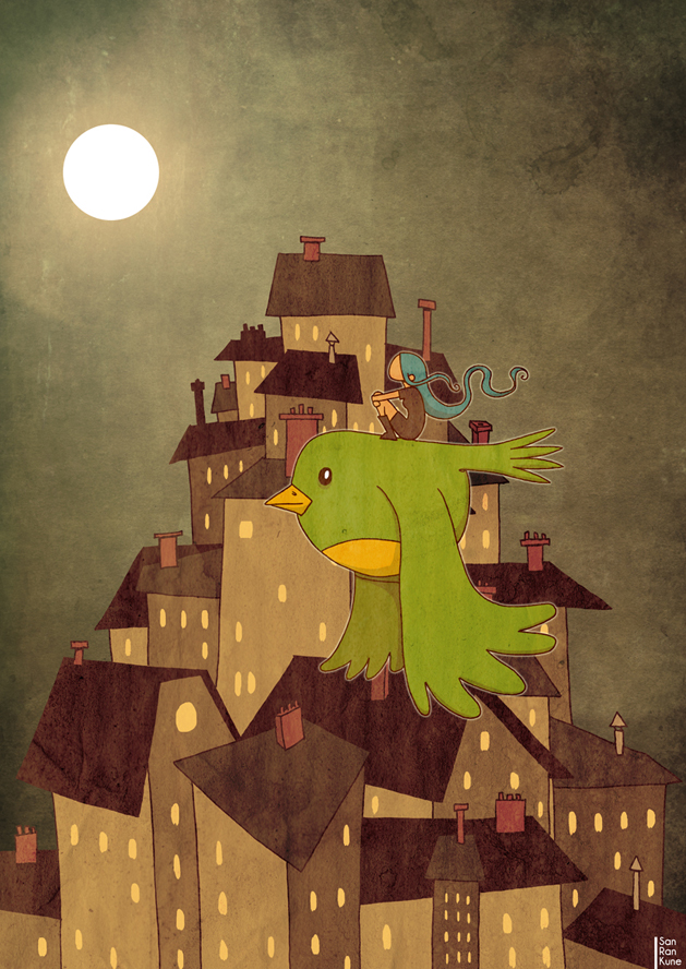 sanrankune illustration punk ville city oiseau bird nuit lune moon